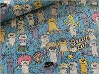 【綿麻キャンバス 生地】パーティ猫*skyblue*4B