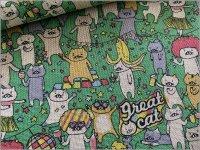 【綿麻キャンバス 生地】パーティ猫*green*4D