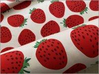 【オックス 生地】おおきなイチゴ*苺柄*生成り*77B