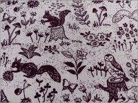 【綿麻キャンバス 生地】森の動物*lavender purple*A2