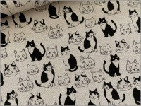 【綿麻キャンバス 生地】猫*ねこ*線描き*linen*B1