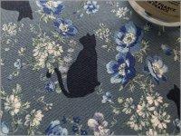 【シーチング 生地】ボタニカル*猫*シルエット*blue*3E