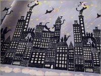 【シーチング 生地】夜景ボーダー*猫*purple*9C