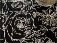 【綿麻キャンバス 生地】線画*バラ*ローズ*薔薇*black*2E