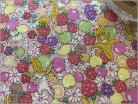 【ブロード 生地】フルーツ&ネコ猫*milky pink*14B