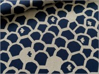 【綿麻キャンバス 生地】ハミングバード*ブロック*小鳥*blue*1D