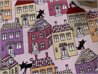 【オックス 生地】ココランド*cocoland*黒猫×家*pink*28A