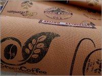 【プリペラ 生地】カフェ柄*coffee*ロゴPt*コットン*brick*1D