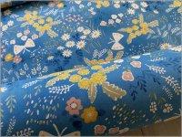 【シーチング 生地】春の野原*Luoto*抗菌防臭*プレミアムソフト加工*blue*A4