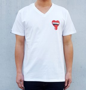 [HEARTY MOUTH]  V Neck T-Shirts (WHITE)