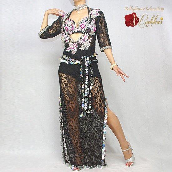 エジプト製衣装 サイーディ/バラディドレス:総レースドレス(インナーパンツ付き)【カラー:003.ブラッ…