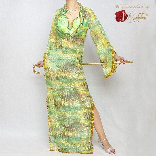 エジプト製衣装 サイーディ/バラディドレス:総レースドレス(インナーパンツ付き)【カラー:009.グリー…