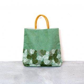 リネンハート刺繍バッグ(グリーン)