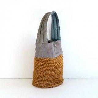 リネンコマ編みバッグ小(ライトグレー)