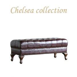 チェスターフィールド ロングスツール チョコレートPUレザー 9015-l-5p38b リプロ B 105*45*45