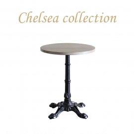 カフェテーブル Φ60cm 4本脚 オーク材 プラスターウッド ブラック frt1-60r-lb-2 リプロ