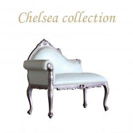 ロココスタイル カウチソファ パールピンク×ホワイトPUレザー 6102-60p65 リプロ C 105*45*90