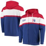 フィラデルフィア・76ers Fanatics Branded Colorblock Wordmark Full-Zip Hoodie - Royal/Red