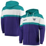 Charlotte Hornets Fanatics Branded Colorblock Wordmark Full-Zip Hoodie - Purple/Teal