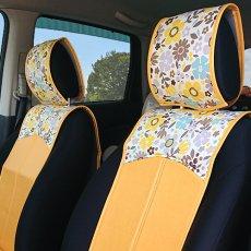 かわいい シートカバー(スマートレザータイプ・前席2シート分)ココナツイエロー