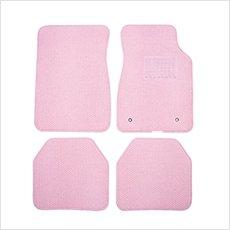 ピンク 一色 かわいい 汎用 フロアマット カーマット 軽自動車 普通自動車 < フラワー ピンク >