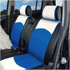 【受注製作】おしゃれ な バイカラー シートカバー (スマートレザータイプ・前席2シート分) < サマーブルー > ハスラー モデル