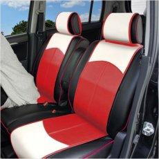 【受注製作】おしゃれ な バイカラー シートカバー (スマートレザータイプ・前席2シート分) < フェニックスレッド > ハスラー モデル