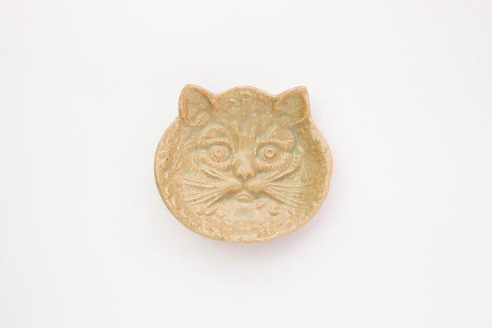 倉敷意匠/猫の陽刻豆皿 灰釉