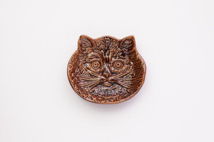 倉敷意匠/猫の陽刻豆皿 飴釉