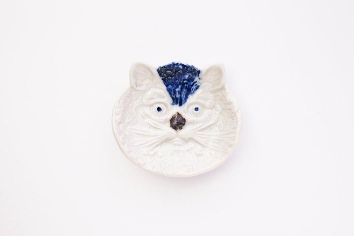 倉敷意匠/猫の陽刻豆皿 染付