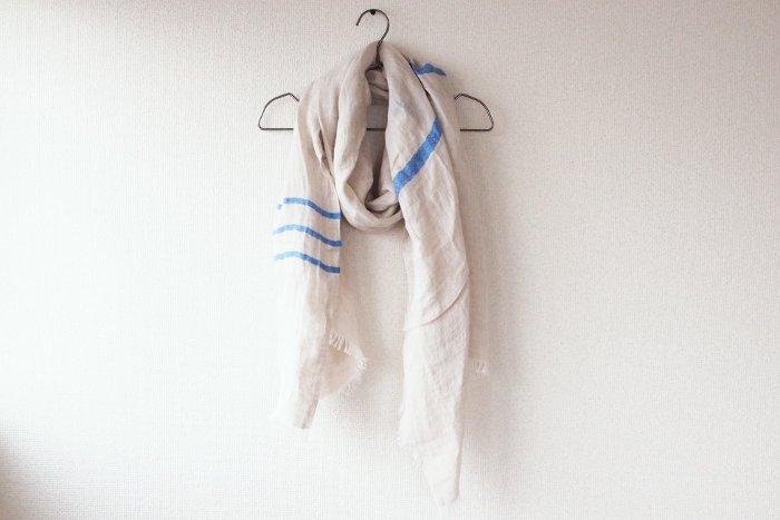 LAPUAN KANKURIT/ウォッシュドリネンスカーフ USVA ブルー【送料無料】
