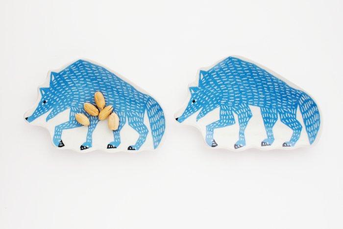 kata kata/印判手豆皿 オオカミ ブルー