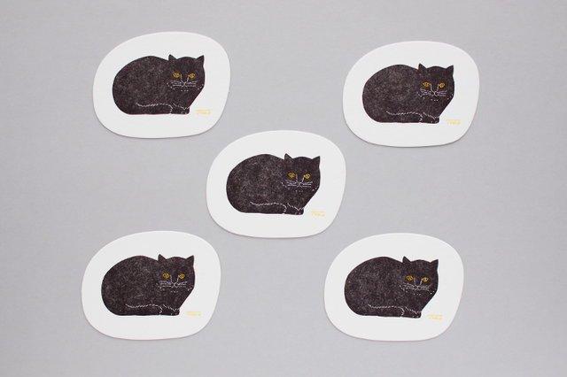 トモタケ/凸版印刷コースター 黒猫 楕...