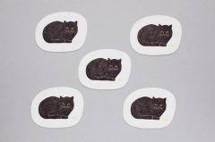 トモタケ/凸版印刷コースター 黒猫 楕円(5枚セット)