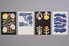 鹿児島睦/図案ポストカード  5 BLUE FISHES(4枚セット)