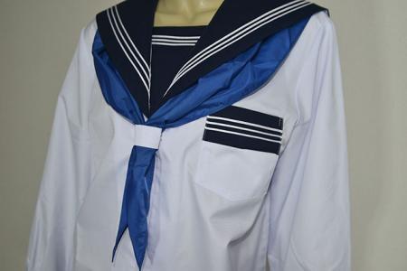 セーラー服 夏服紺衿長袖蛇腹ライン