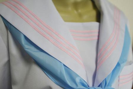 セーラー服 夏服白衿長袖ピンク平ライン
