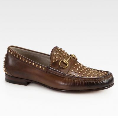 Gucci�ʥ��å���Roos Studded Leather Horsebit Loafer