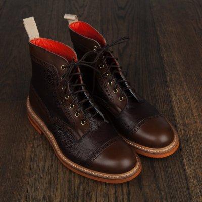 Tricker's�ʥȥ�å�������Two Tone Brogue Boots Coffee Burnished and Espresso Scotch Grain Leather