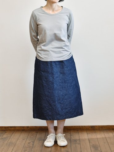 seasew. 綿麻デニムボックススカート