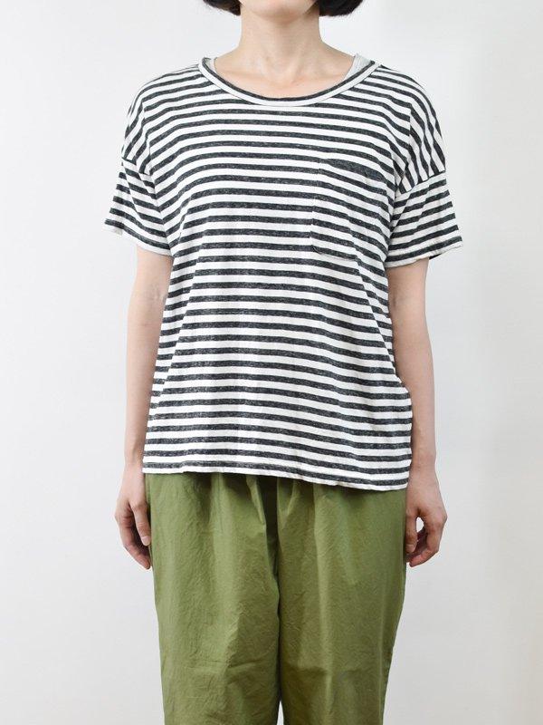 seasew. コットンリネン粗挽きボーダーボックスTシャツ