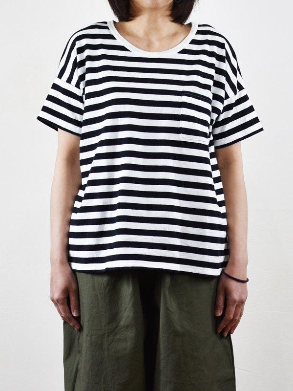 seasew. 40/2天竺ボーダーボックスポケットTシャツ