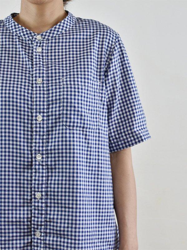 ギンガムチェックバンドカラー半袖シャツ