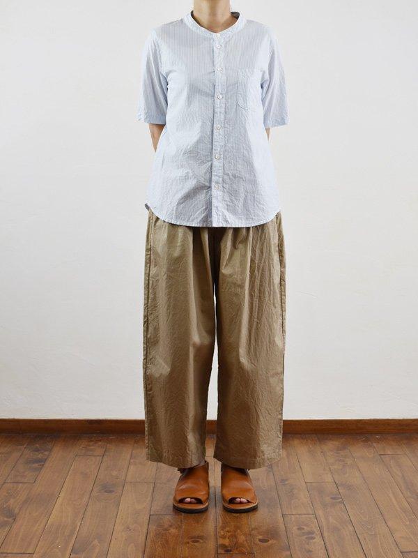 【予約受付】100/2先染めストライプバンドカラー半袖シャツ