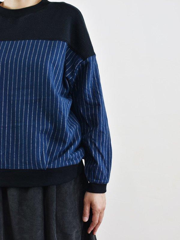 【予約受付】シャギーストライプ×コットンパイル切替プルオーバー