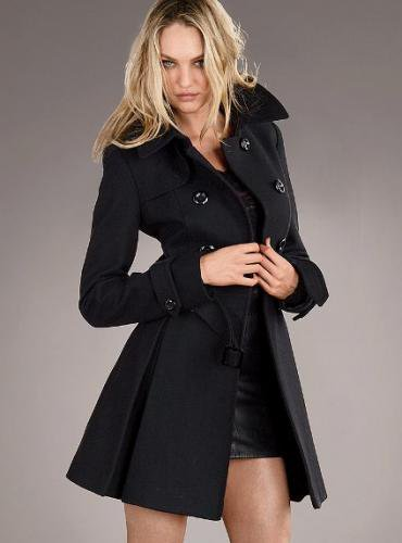 Victoria's Secret ヴィクトリアズ・シークレット Wool Trench Coat black