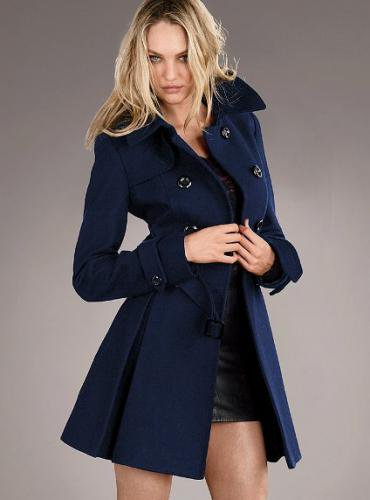 Victoria's Secret ヴィクトリアズ・シークレット Wool Trench Coat navy