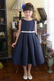 子供ドレス ピアノ発表会ドレス 3-354(150cm)ネイビーブル−