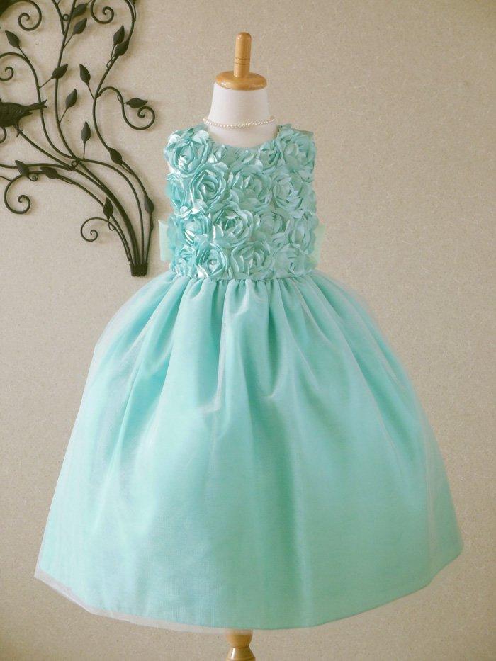 子供ドレス 発表会 結婚式 1-926B(110cm) ターコイズグリーン