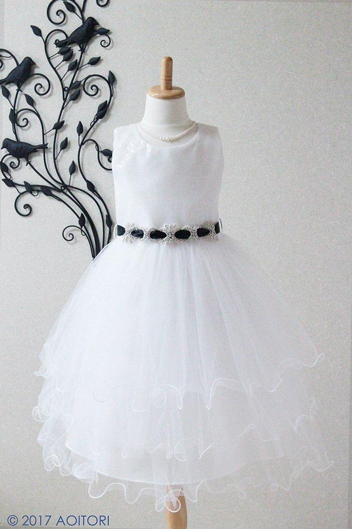 子供ドレス ピアノ発表会ドレス 12-245(120cm)クリスタルホワイト